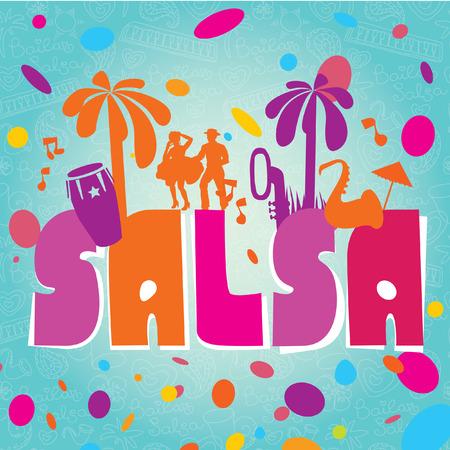 bailarines de salsa: Elegante ilustración vectorial elemento de diseño