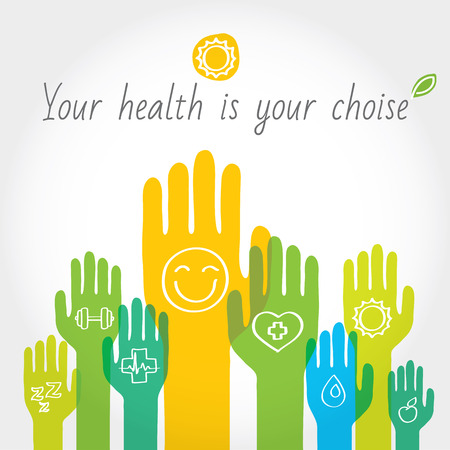 Green, yellow and blue hands with symbols of healthy lifestyle, food, sport. Vector illustration and design element