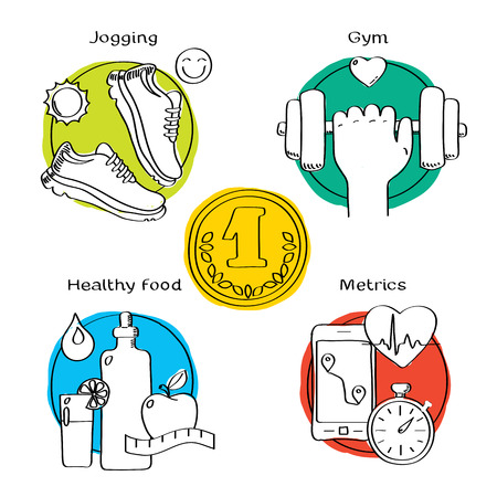 metrics: Jogging and running winner concept handdrawn icons of gym, healthy food, metrics. Isolated vector illustration and modern design element