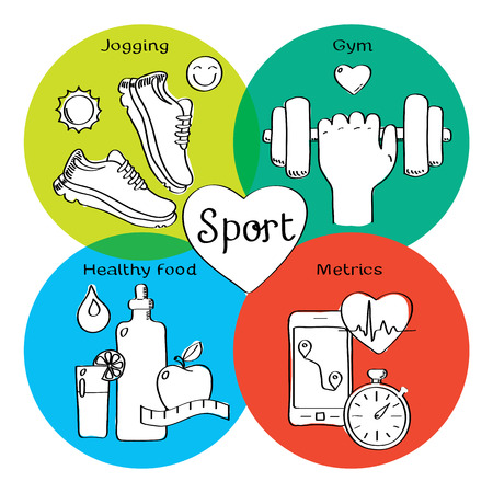 metrics: Healthy life concept handdrawn icons of jogging, gym, healthy food, metrics. Isolated vector illustration and modern design element Illustration