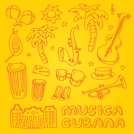 havana cuba: Cuban music illustration with musical instruments, palms, traditional architecture. Vector modern and stylish design elements set Illustration