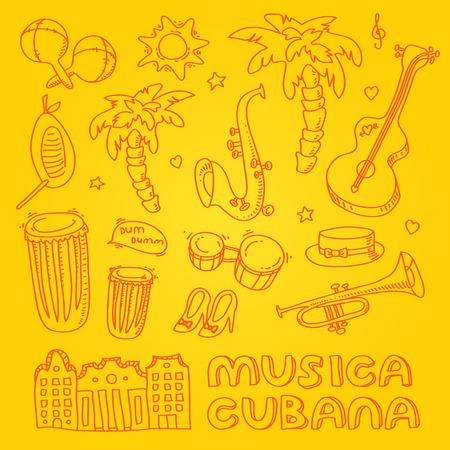 carribean: Ilustraci�n de la m�sica cubana con los instrumentos musicales, las palmas, la arquitectura tradicional. Vector de elementos de dise�o moderno y elegante establecieron