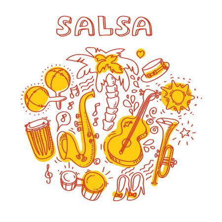 carribean: M�sica salsa y la ilustraci�n de baile con instrumentos musicales, palm�ceas, etc Vector elementos de dise�o moderno y elegante establecieron