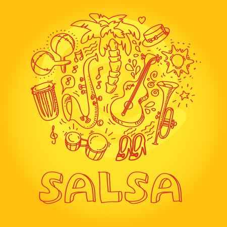 Salsa music and dance illustration with musical instruments, palms, etc. Vector modern and stylish design elements set