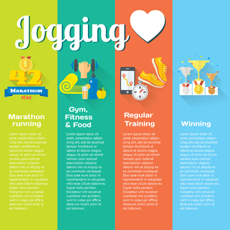 metrics: Healthy life concept flat set of four vertical lines of marathon, jogging, gym, healthy food, metrics. Isolated vector illustration and modern design element Illustration