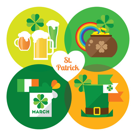 Happy St. Patricks Day vector illustration icon set. Traditional irish symbols in modern flat style. Design elements for Irish poster, banner. Vector