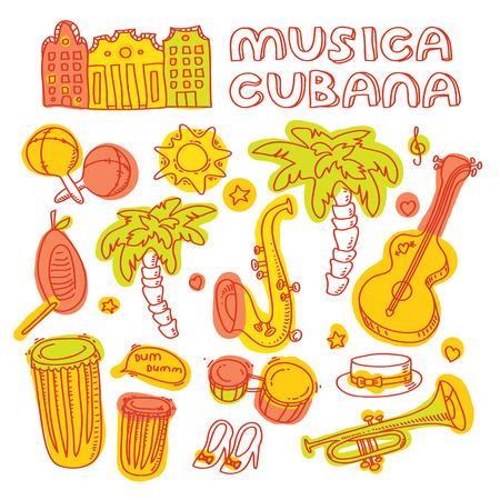 Música salsa y la ilustración de baile con instrumentos musicales, palmáceas, etc Vector elementos de diseño moderno y elegante establecieron Foto de archivo - 36565797