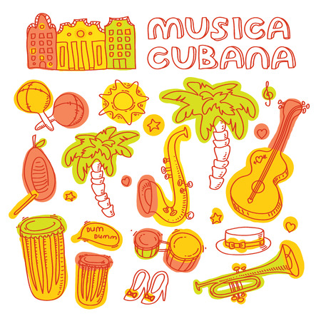 havana: Salsa music and dance illustration with musical instruments, palms, etc. Vector modern and stylish design elements set