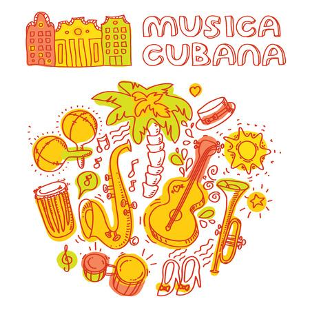 Música salsa y la ilustración de baile con instrumentos musicales con palmas, etc. Vector elementos de diseño moderno y elegante establecieron Foto de archivo - 36565800