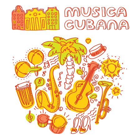 havana cuba: Salsa music and dance illustration with musical instruments with palms, etc. Vector modern and stylish design elements set