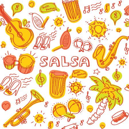 baile latino: Música de salsa y danza la ilustración coloreada con instrumentos musicales con palmas, etc. Vector elementos de diseño moderno y elegante establecieron