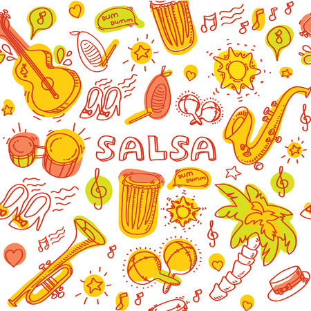 Salsa music and dance colored illustration with musical instruments with palms, etc. Vector modern and stylish design elements set Stock Illustratie