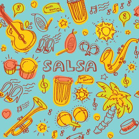 bailando salsa: Música de salsa y danza la ilustración coloreada con instrumentos musicales con palmas, etc. Vector elementos de diseño moderno y elegante establecieron