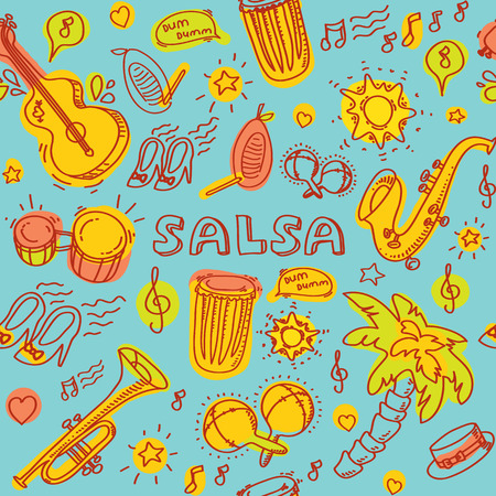 Salsa music and dance colored illustration with musical instruments with palms, etc. Vector modern and stylish design elements set Çizim