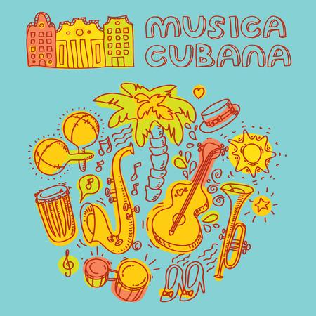 Musica cubana, 살사 음악과 손바닥 등 악기와 그림을 그림. 벡터 현대적이 고 세련 된 디자인 요소를 설정
