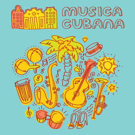 Musica cubana, Salsa music and dance illustration with musical instruments with palms, etc. Vector modern and stylish design elements set
