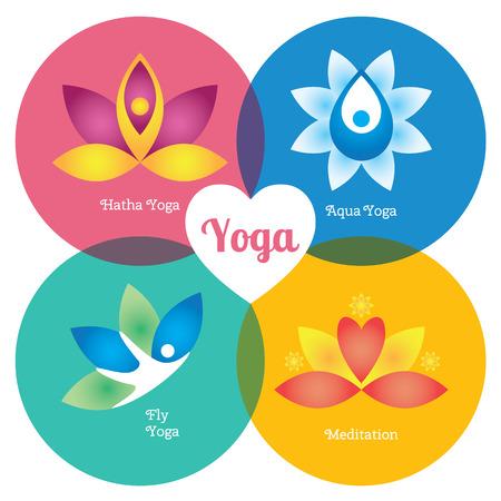 治癒: ヨガの瞑想、飛ぶアクア標識セット色。花およびボディー要素。現代ベクトルのイラストやデザインの要素