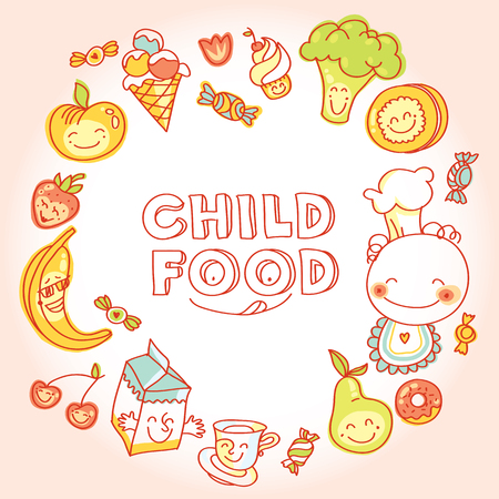 Child and baby food, set of colorful roundelay fruits, vegetables, sweets, cookies with smile
