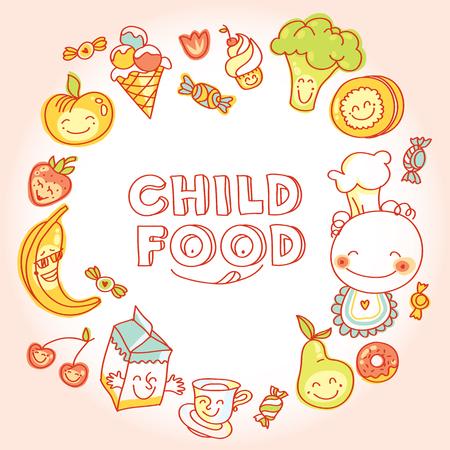 Niño y alimentos para bebés, conjunto de coloridas frutas roundelay, verduras, dulces, galletas con sonrisa Foto de archivo - 36662444