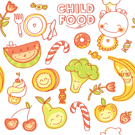 Child and baby food, set of seamless  colorful fruits, vegetables, sweets, cookies with smile