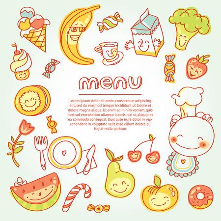 어린이 및 유아식, 다채로운 과일, 야채, 과자, 미소가있는 쿠키 메뉴