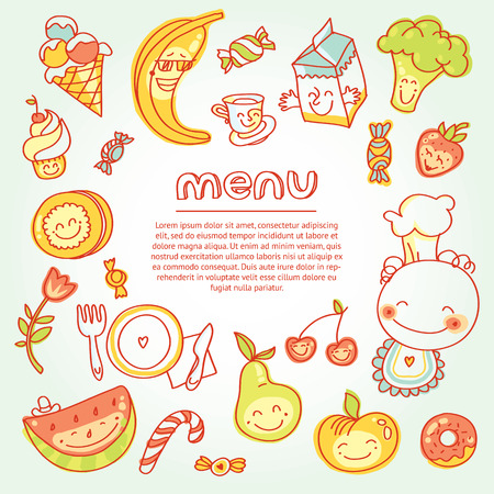 Child and baby food, menu with colorful fruits, vegetables, sweets, cookies with smile