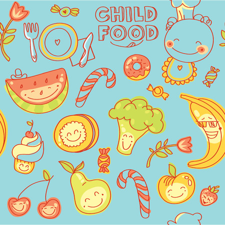 baby cutlery: Child and baby food, set of seamless  colorful fruits, vegetables, sweets, cookies with smile with blue background