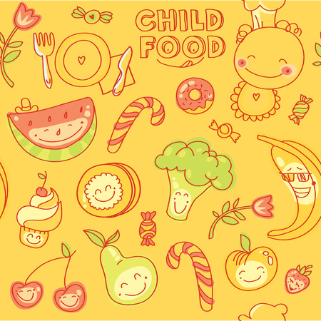 baby cutlery: Child and baby food, set of seamless  colorful fruits, vegetables, sweets, cookies with smile with yellow background