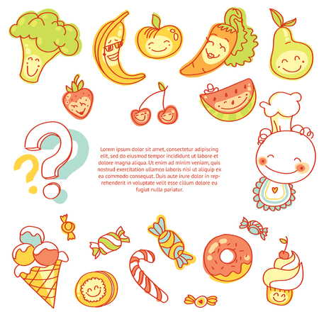 Child food, set of colorful fruits, vegetables, sweets, cookies with smile and text Vector