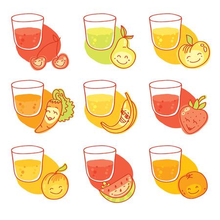 Conjunto de nueve zumos frescos: cereza, pera, manzana, zanahoria, plátano, fresa, melocotón, sandía, naranja Foto de archivo - 37120555