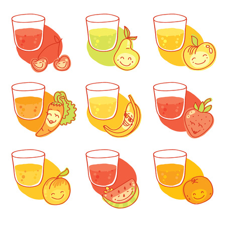 Set of nine fresh juices:cherry, pear, apple, carrot, banana, strawberry, peach, watermelon,orange