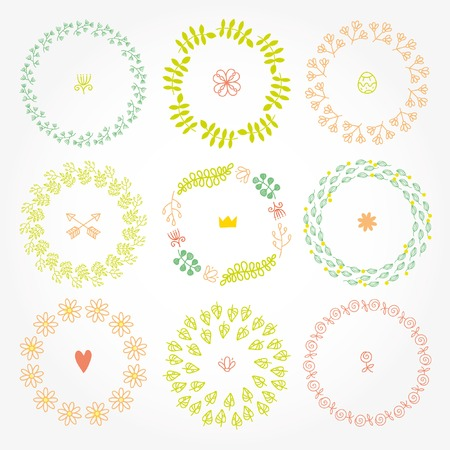 versatile: Nine vector spring round frames with fresh leaves and flowers. Versatile wreaths. Illustration