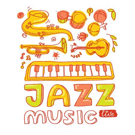 bongos: Set of musical instruments: keyboard, bongos, maracas, guitar, trompet, saxophone Illustration