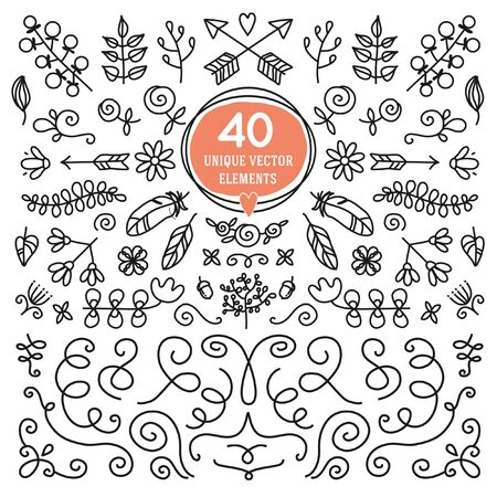 designs: Set of 40 unique vector elements. Black and white ornate for decorting