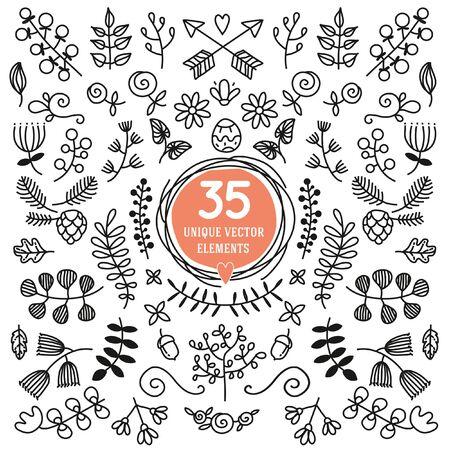 thirty five: Set di trentacinque elementi vettoriali unici. Ornato in bianco e nero per decorting