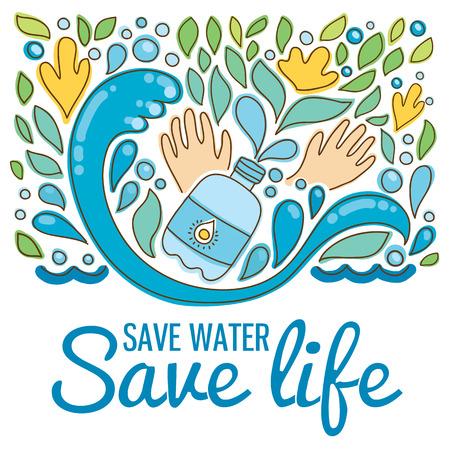 Oszczędzaj wodę - uratować życie. Ręcznie rysowane krople, fale, liście, kwiaty, ręce.