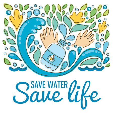 Save water - save life. Hand drawn drops, waves, leaves, flowers, hands. Stock Illustratie