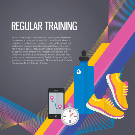 Jogging sport gym background about regular training, water, metrics. Vectores