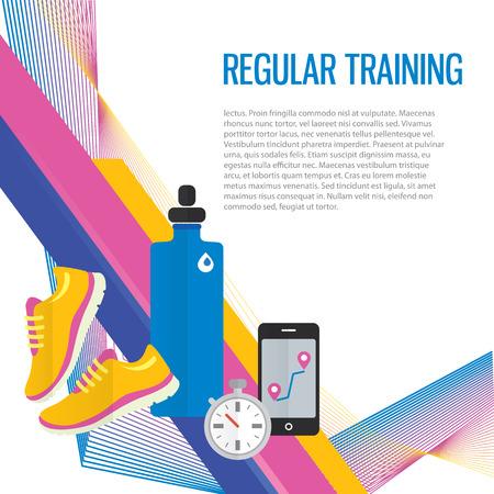 정규 교육, 물, 측정 항목에 대해 스포츠 체육관 배경 조깅.