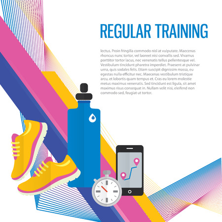Jogging sport gym background about regular training, water, metrics. Ilustração