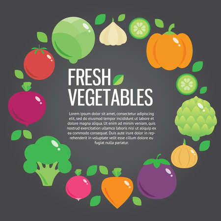 contemporary taste: Healthy fresh organic food vector background with place for text Stock Photo
