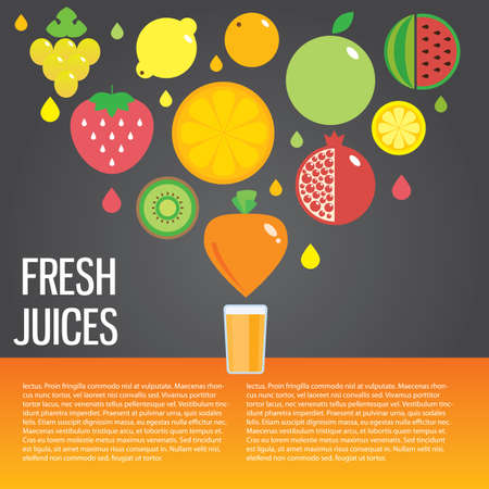 eating habits: Fresh juice colorful round fruit icon set for market or cafe
