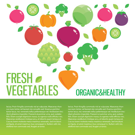 eating habits: Healthy fresh organic food vector background with place for text Illustration