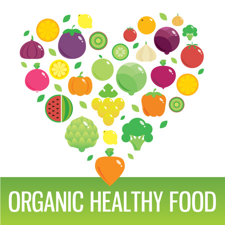 eating habits: Vegetables and fruits round flat icons in heart. Organic healthy food.