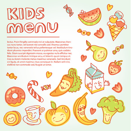 Child and baby food, kids menu with colorful smiling fruits, vegetables, sweets, cookies Vector