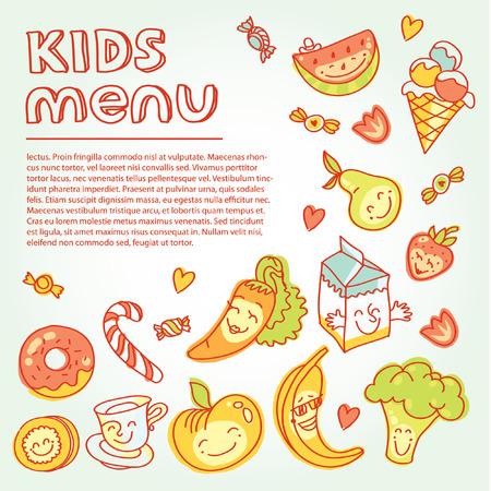 Kinder- und Babynahrung, Kinderkarte mit bunten lächelnd Obst, Gemüse, Süßigkeiten, Kekse Standard-Bild - 39223429