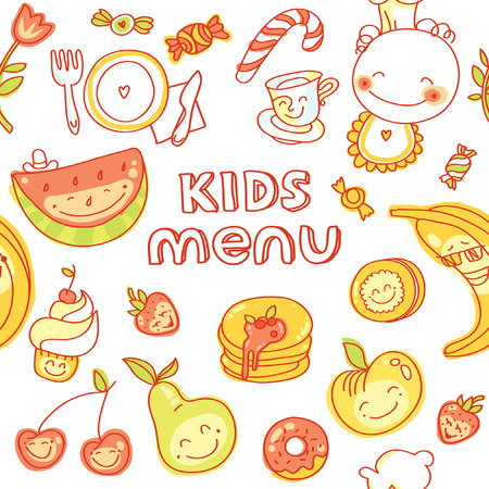 child food: Child and baby food, kids menu with colorful smiling fruits, vegetables, sweets, cookies Illustration