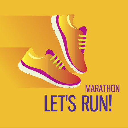Jogging and running marathon concept flat icon with sneakers and Illustration