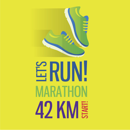 Jogging and running marathon concept flat icon with sneakers and Vectores