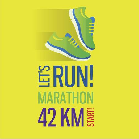 Trotar y correr concepto maratón icono plana con zapatillas de deporte y Foto de archivo - 39223442